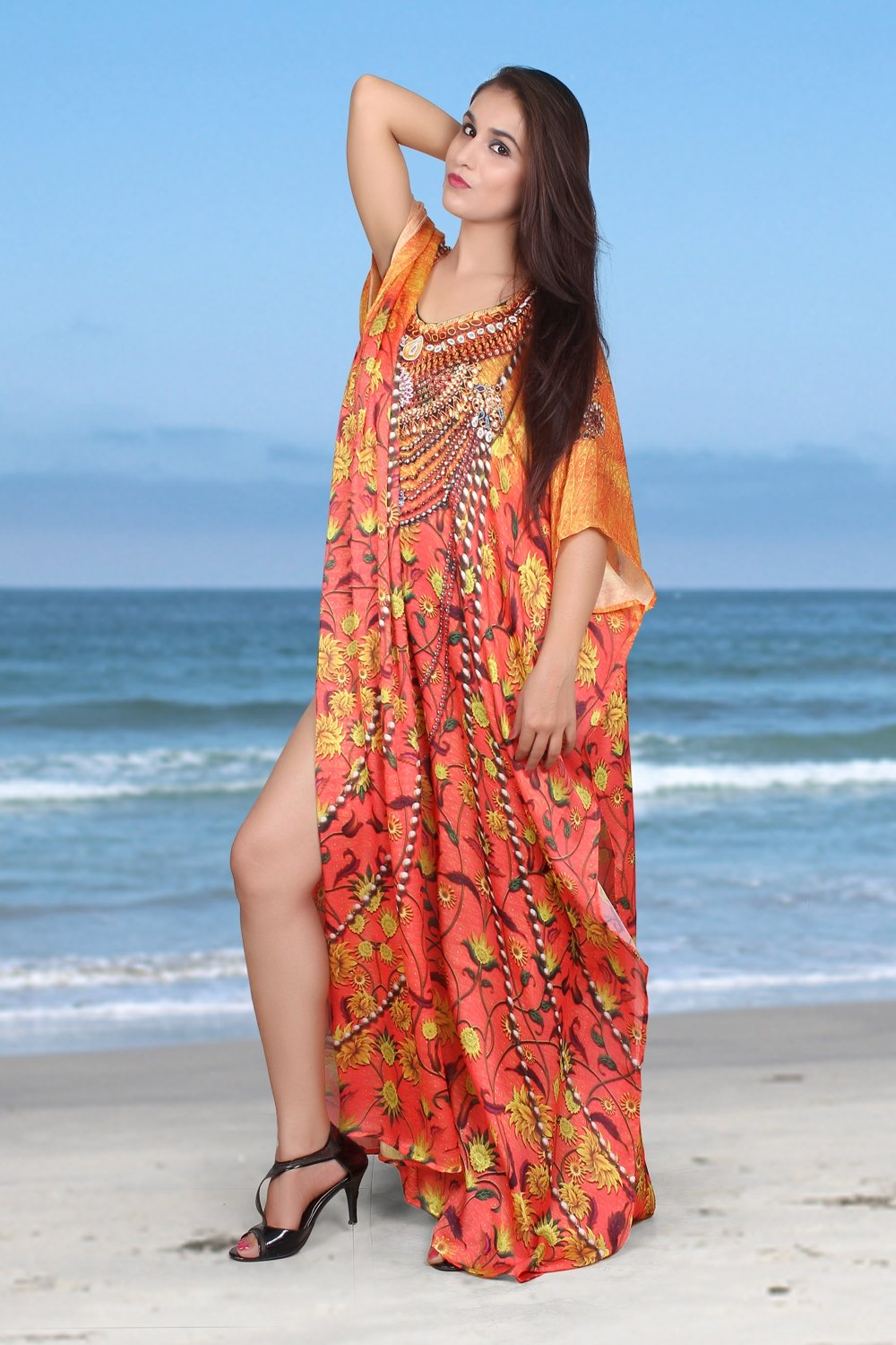 Heavily embellished maxi beach caftan/silk kaftan beach and resort wear handmade latest kaftan fashion plus woman 27 - Silk kaftan