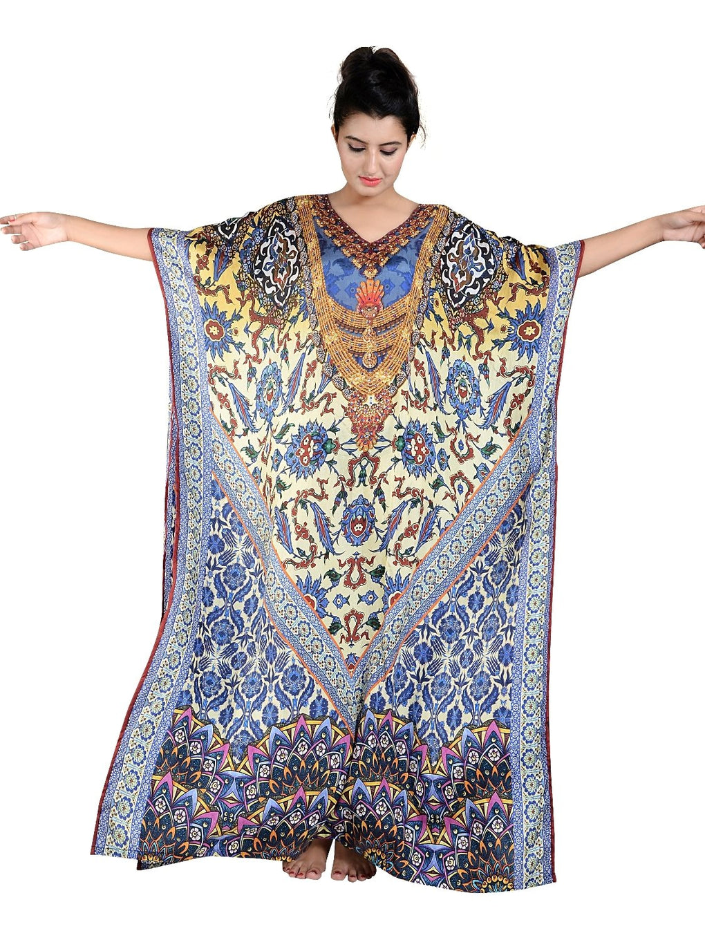 Heavily emblleshed maxi beach caftan long dressy/silk kaftan beach and resort wear hand made latest elegant kaftan fashion plus woman 67 - Silk kaftan