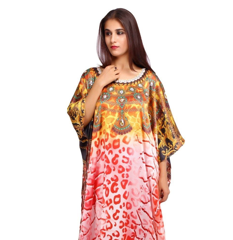Beautiful one piece jewelled full length resort wear beach coverup kaftan dress silk kaftan evening maxi gown 25 - Silk kaftan