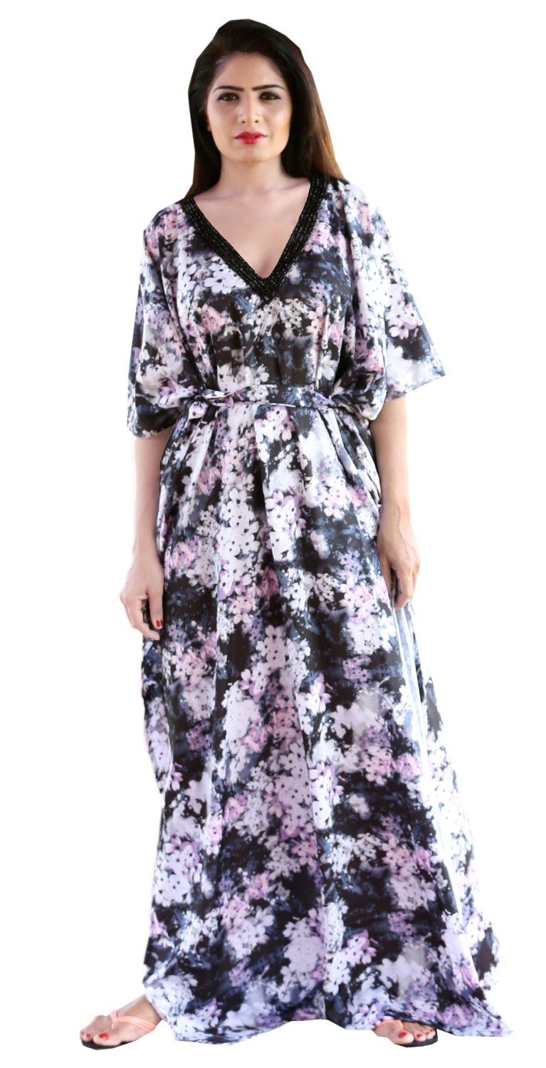 Silk looks and feel Floral Print kaftan one piece dress on sale/jeweled/handmade/caftan beach cover up hot look luxuries Resort party kaftan 101 - Silk kaftan