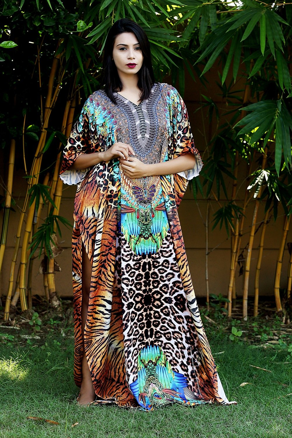 Silk kaftan one piece dress on sale/jeweled/handmade/caftan beach cover up hot look luxuries Resort party kaftan 40 - Silk kaftan
