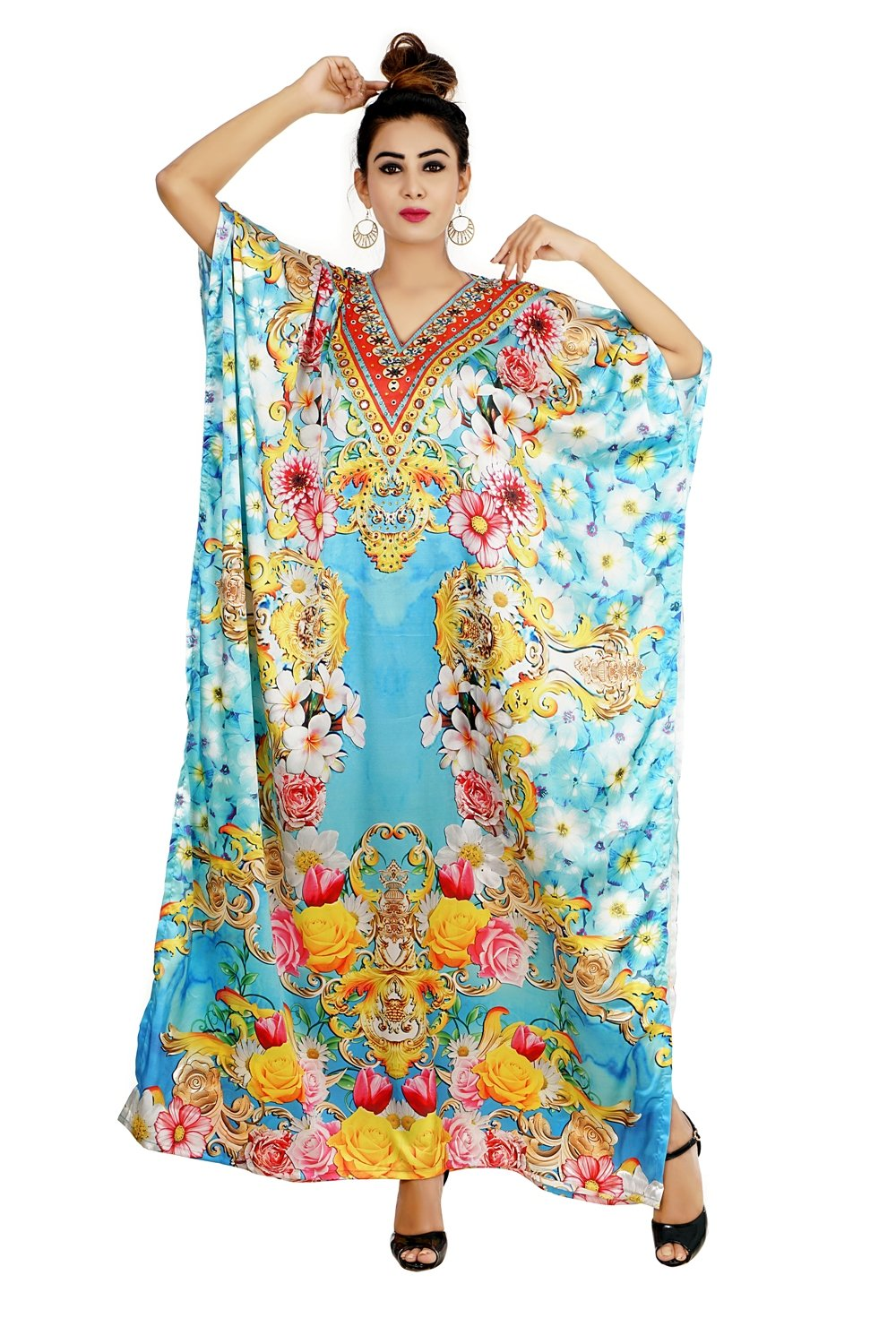 Beach kaftan dress for beaded/one piece Floral Print kaftan/long kaftans/luxury resort wear caftan plus 81 - Silk kaftan