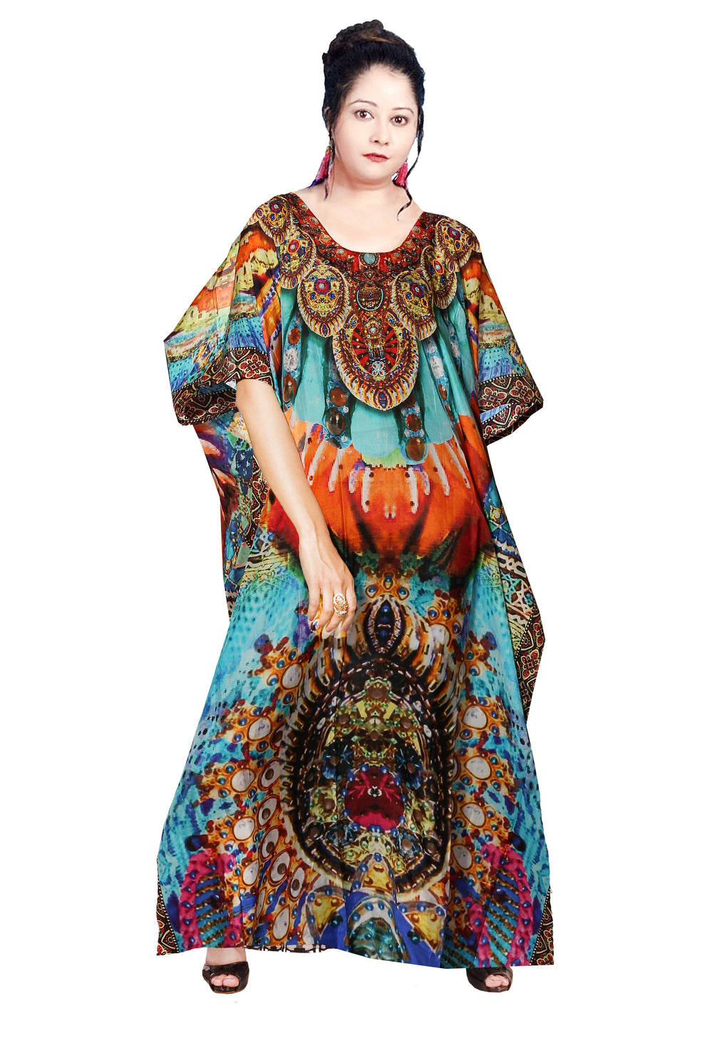 Designer Print kaftan Beach party kaftan dress embellished plus size kaftan for short womens - Silk kaftan