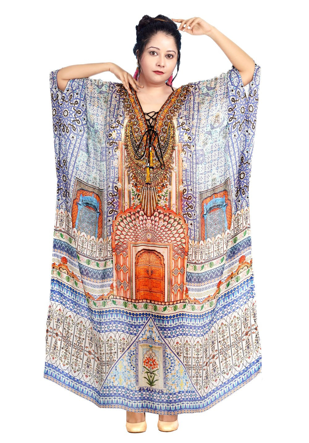 Lace Up kaftan Plus size kaftan Beautiful kaftan resort wear kaftan for women bikini kaftan designer Print kaftan - Silk kaftan