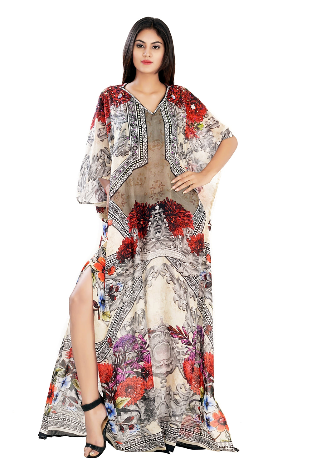 Odorous Feel Abstract Floral Print on Plus Size Silk Kaftan with exceptional color vacation beach outfits - Silk kaftan