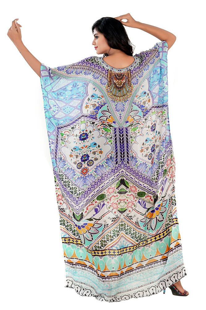 Casual look Silk Kaftan carved with Abstract Floral Print and sophisticated crystals pool party kaftan - Silk kaftan