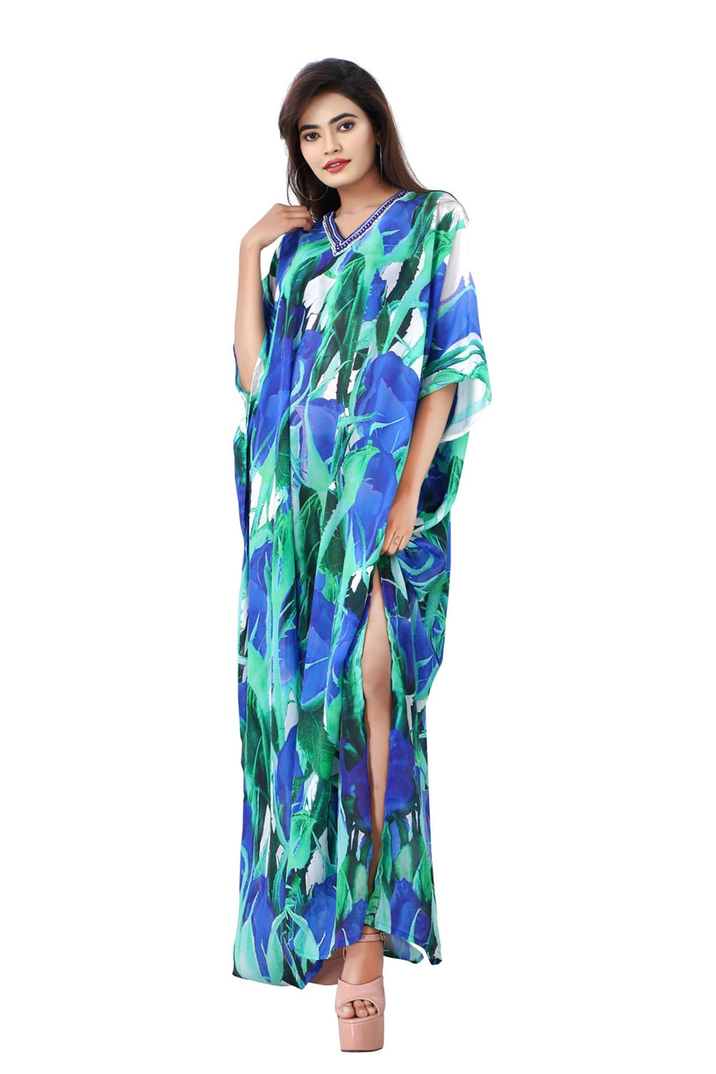 Lovely Blue Rosy Silk Kaftan with elegant roses and V Neck Patterned Sequences - Silk kaftan