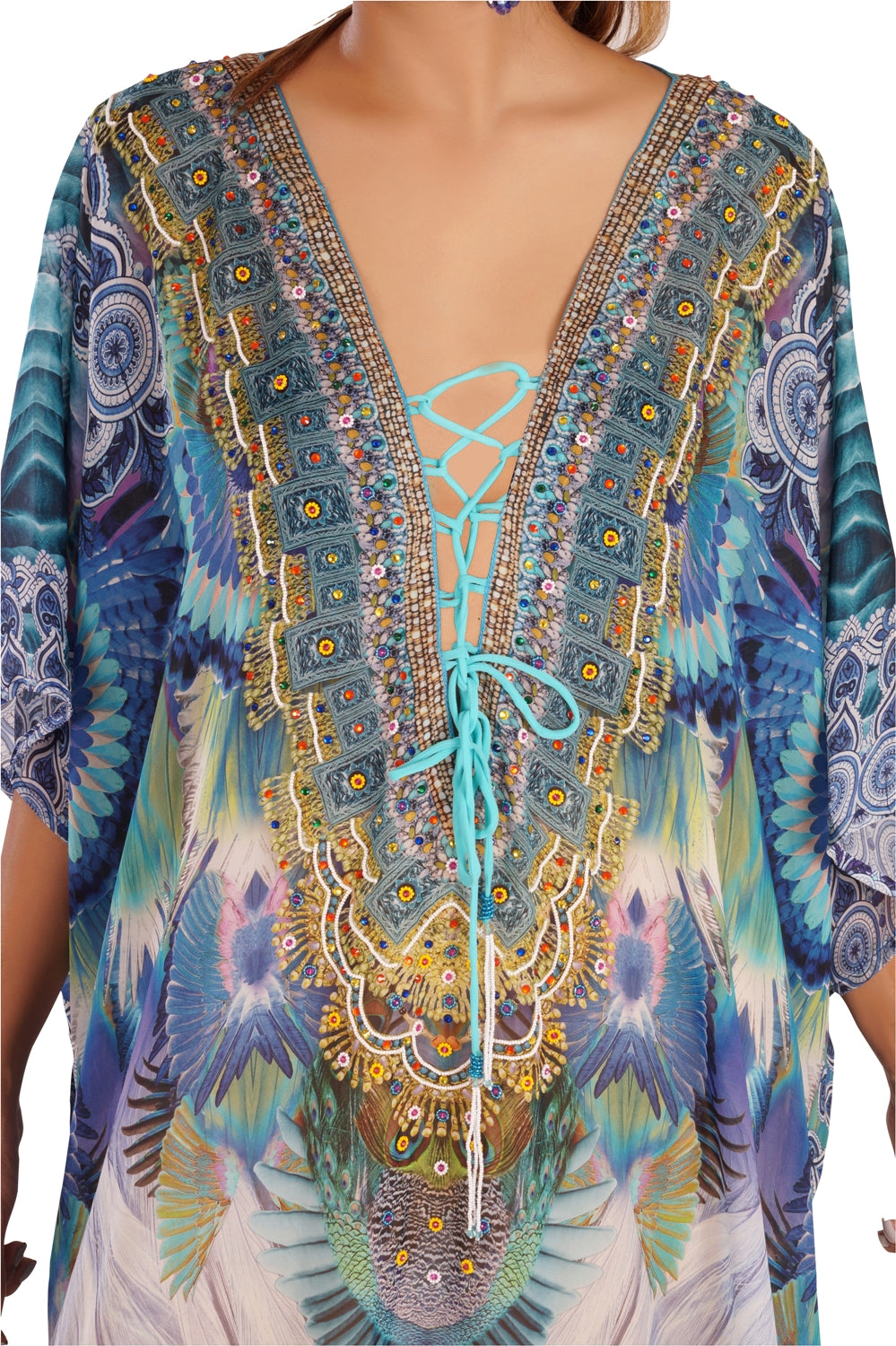 Silk Cruise wear kaftan Embroidered kaftan silk dress Heavily embellished kaftan beach cover up kaftan - Silk kaftan