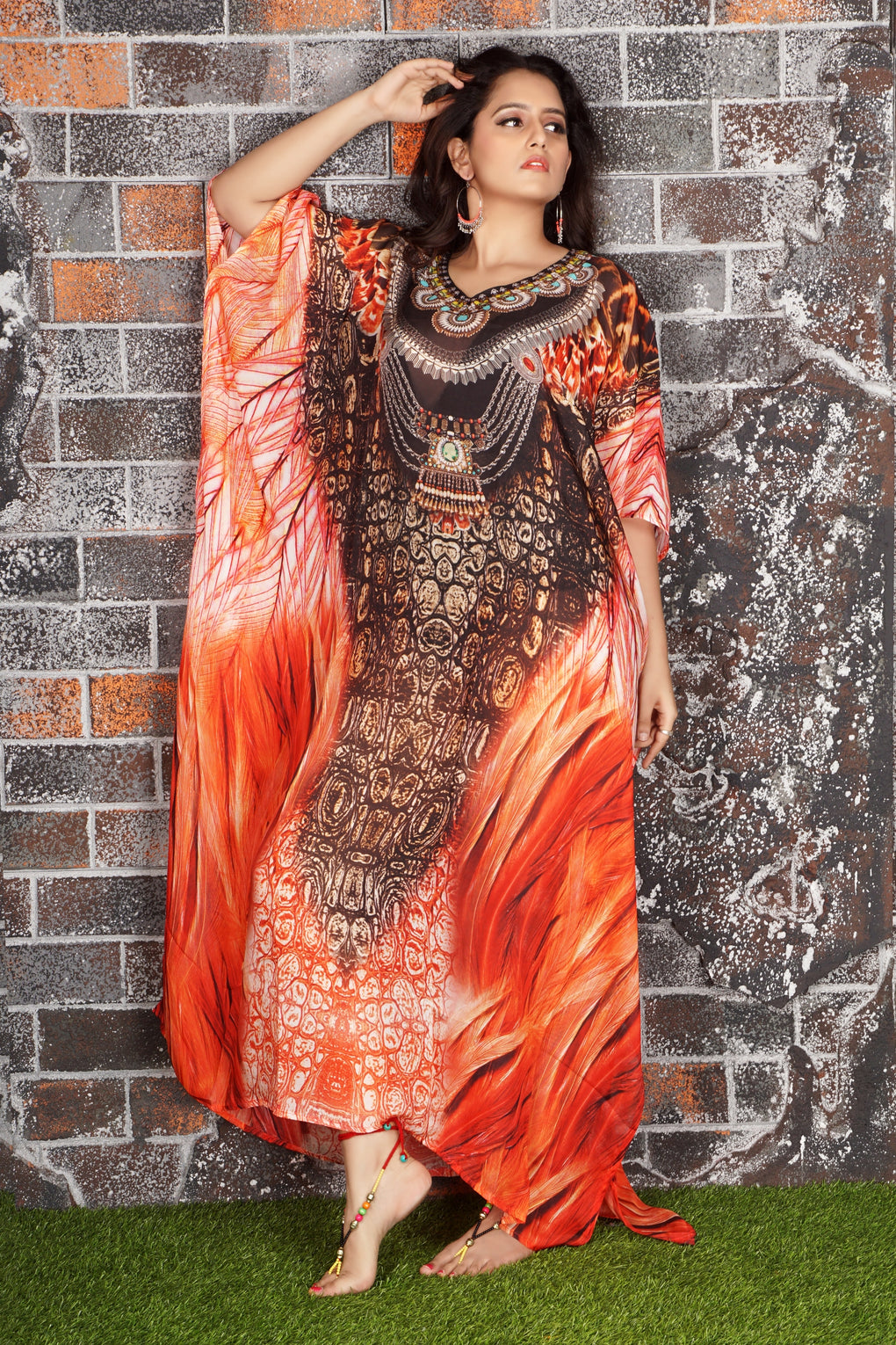 full length beach kaftan