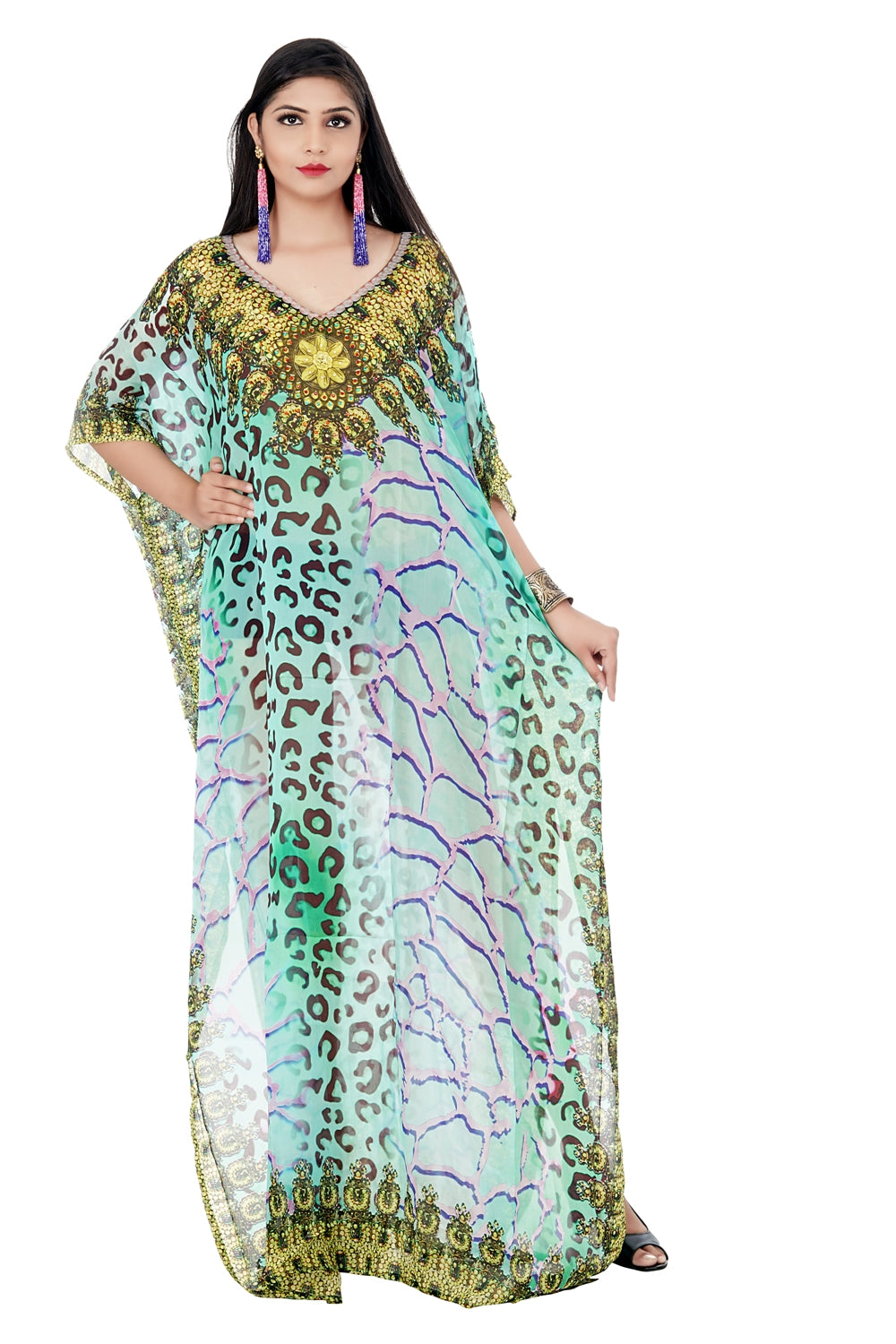 Grandiose Free size Silk Kaftan revealing Leopard Fur with crystal embellishment