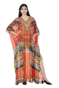 Red printed cut from front Silk Kaftan beautifully printed all over with crystal beads