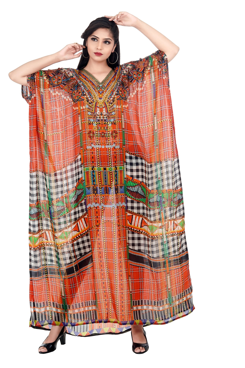 Red printed cut from front Silk Kaftan beautifully printed kaftan - Silk kaftan