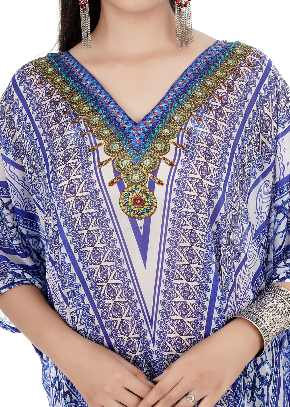 Integrated Gorgeous Silk Kaftan with Stripe and Geometric print featured Side Look - Silk kaftan