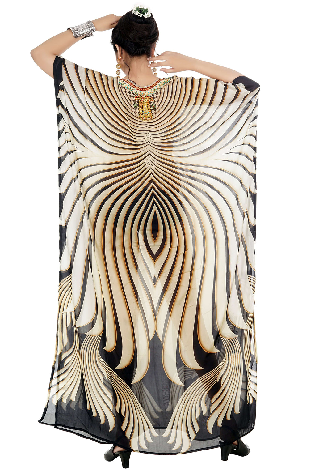Adolescent Genre long Silk Kaftan highly inspired by Camouflage print pool party dress - Silk kaftan