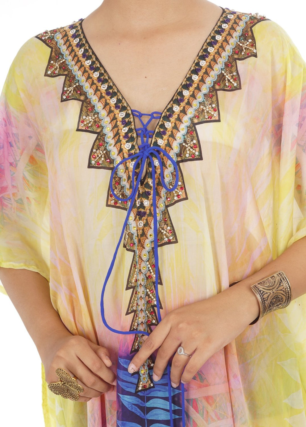 lace up silk kaftan