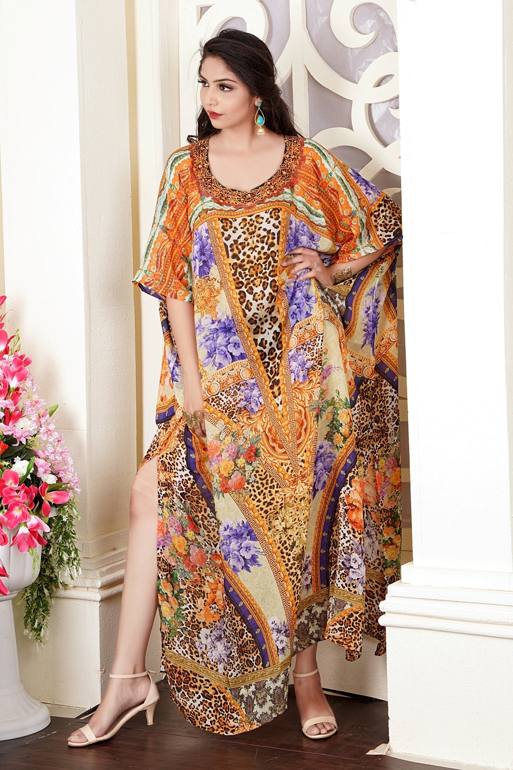 Animal Print Kaftan Plus size silk kaftan silk resort wear for women caftan for sale beach wear kaftan Silk caftan dress - Silk kaftan