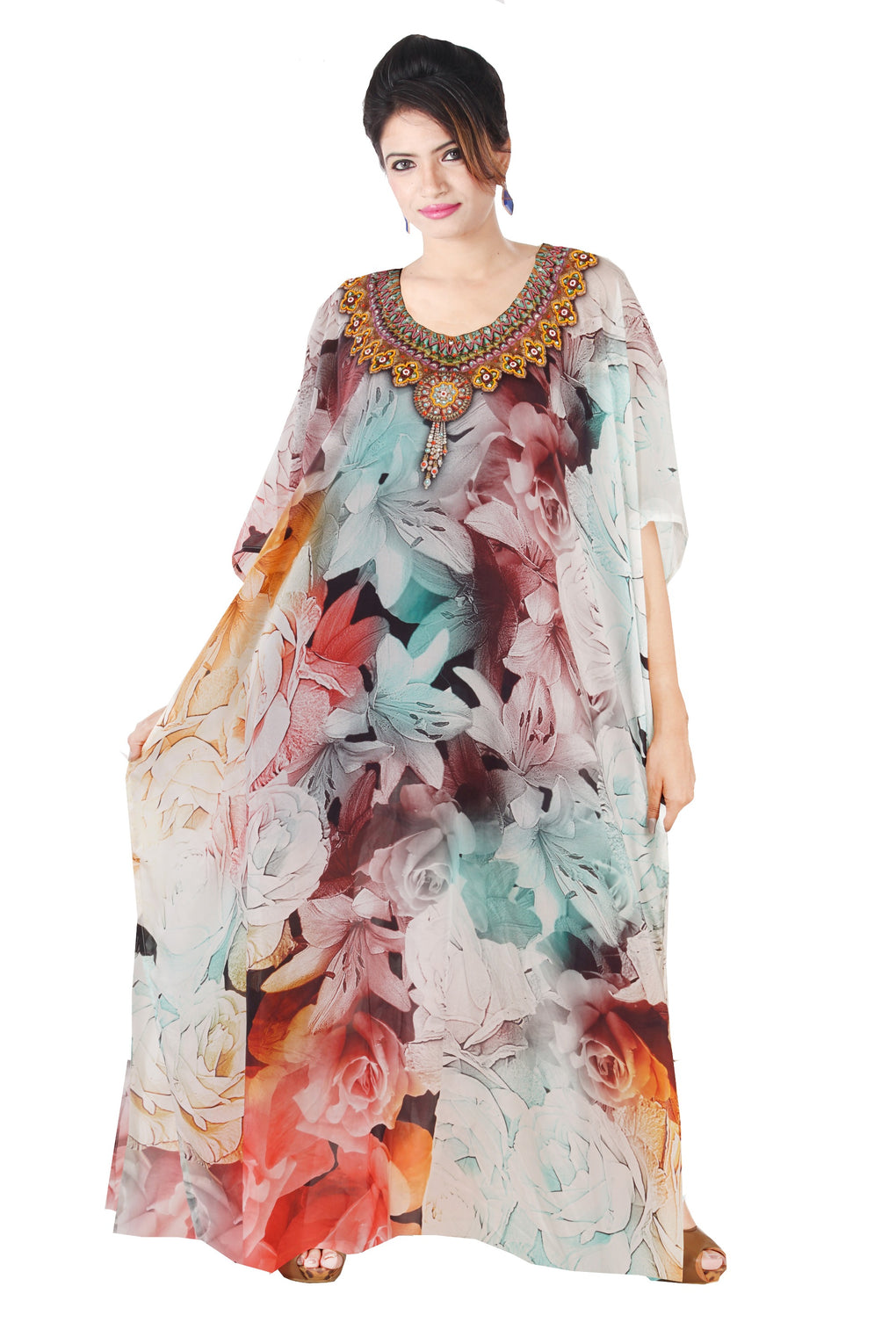 Floral Print Silk cover up kaftan silk dress kaftans design fashion Plus size Long kaftan Resort wear kaftan - Silk kaftan
