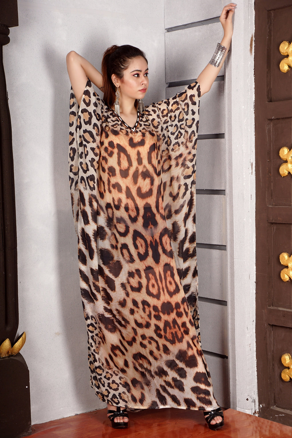 Exclusive Leopard Print Silk kaftan Maxi dress with incensed embellishment of crystals Near V neckline - Silk kaftan