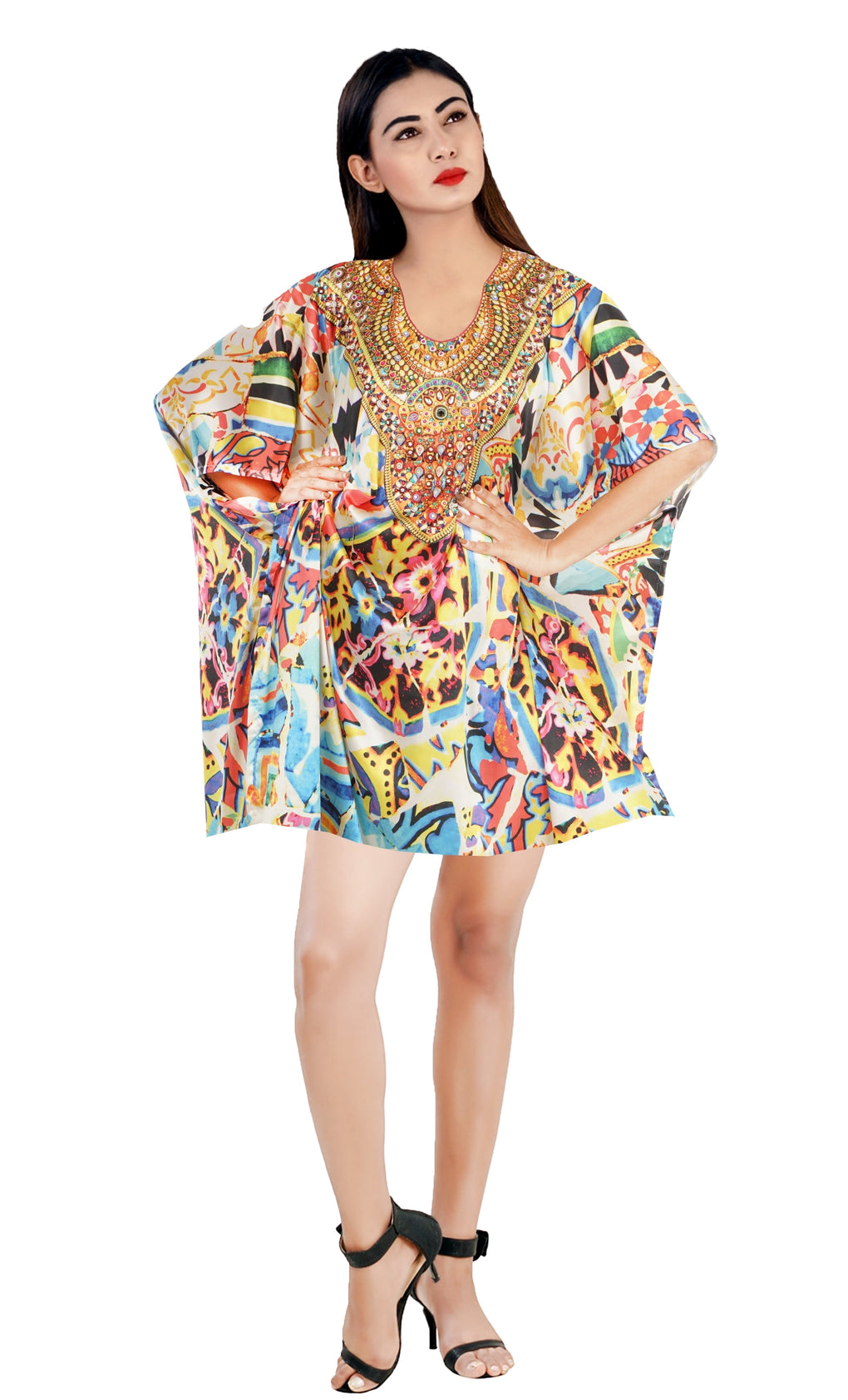 Animal Print Kaftan Beach Party kaftan Embellished Kaftan Plus size short kaftan Resort wear kaftan - Silk kaftan