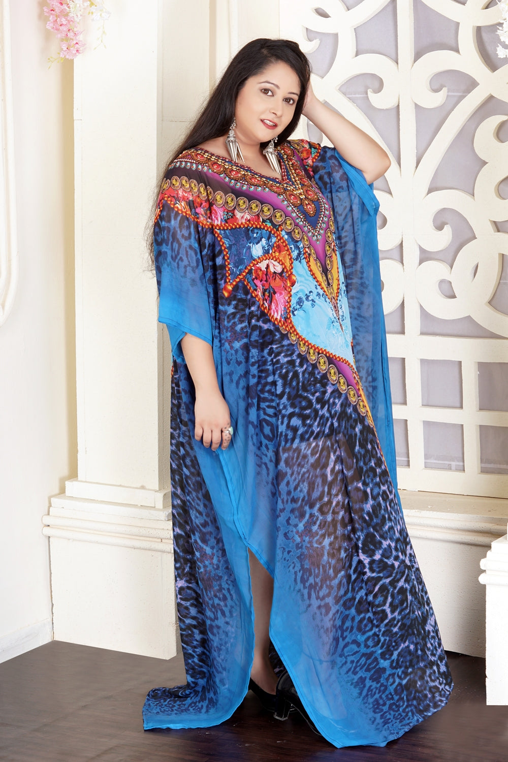 Leopard skin patches drawn on Blue colored Silk Kaftan with artistic patterns on cheap kaftan - Silk kaftan