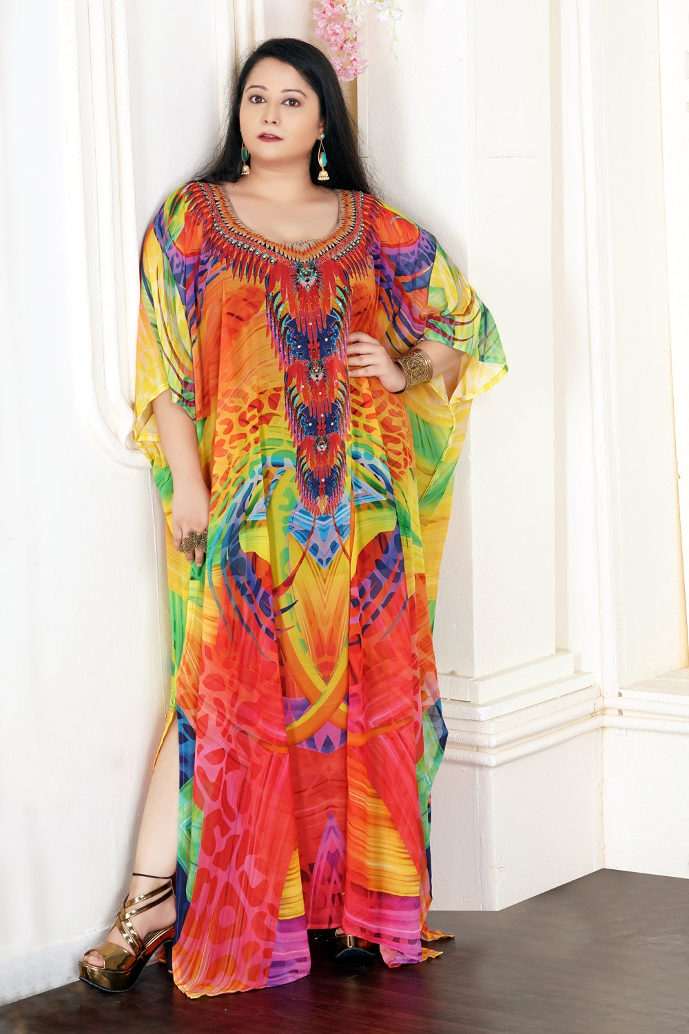 Elegance over time with light embellished self-print over cheap kaftan to express