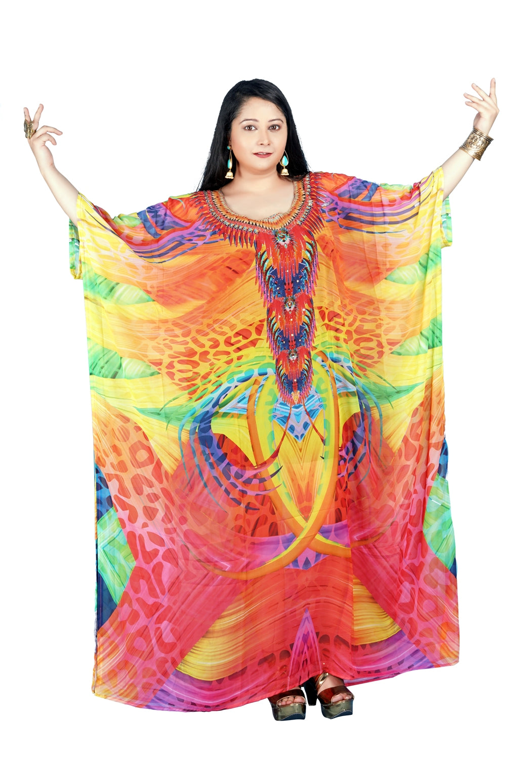 Elegance over time with light embellished self-print over cheap kaftan to express - Silk kaftan