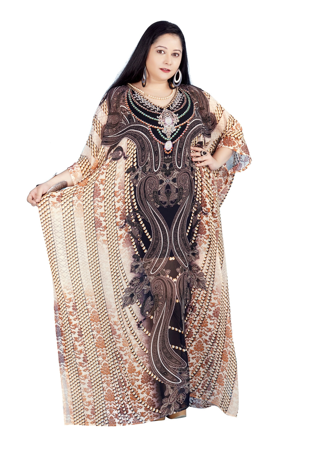 Baroque Art on Silk Kaftan with side splits embellishments traditional ensemble - Silk kaftan