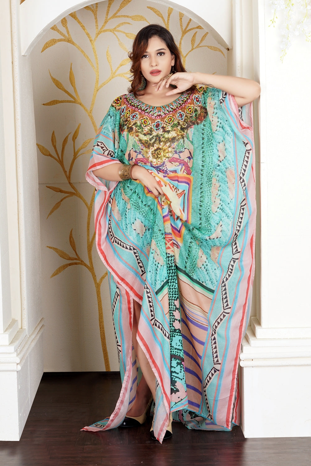 Python Skin Print with basic Geometric Patterns in between of Long Silk Kaftan - Silk kaftan