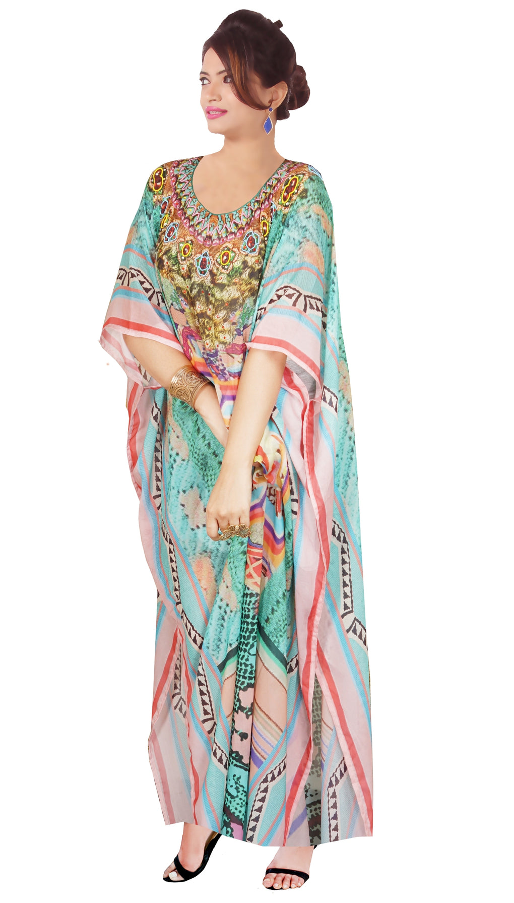Beach cover up kaftan Heavily embellished kaftan Embroidered kaftan Cruise wear kaftan Lightweight silk kaftan - Silk kaftan