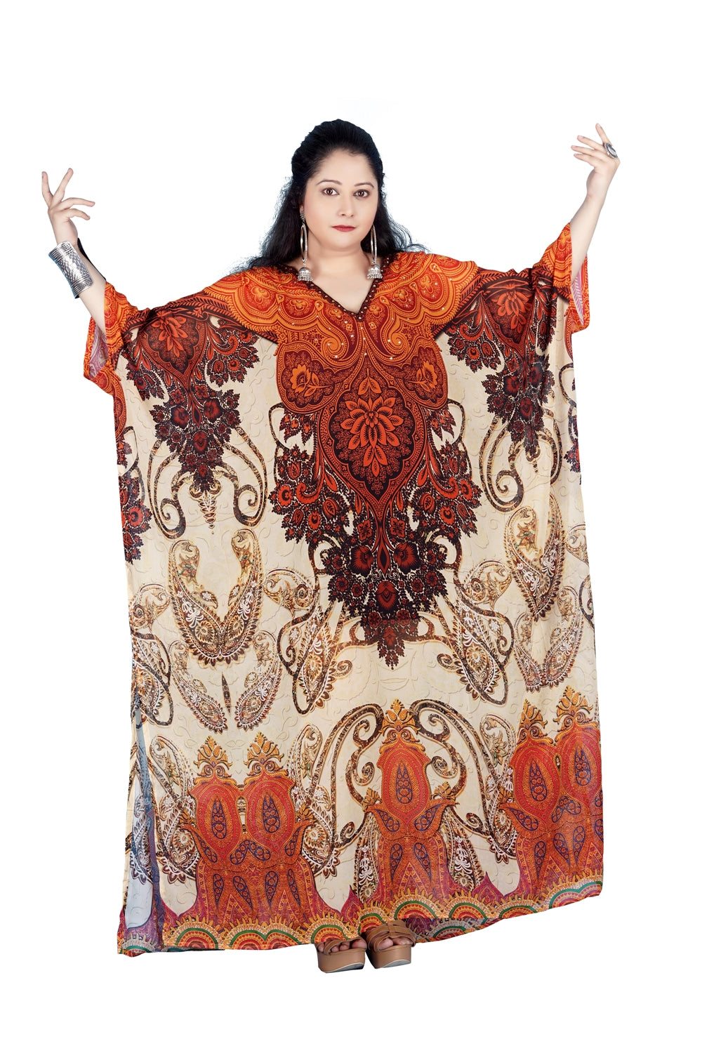 Light Embellished Maxi long kaftan with soft luxurious feel a perfect summer outfit - Silk kaftan