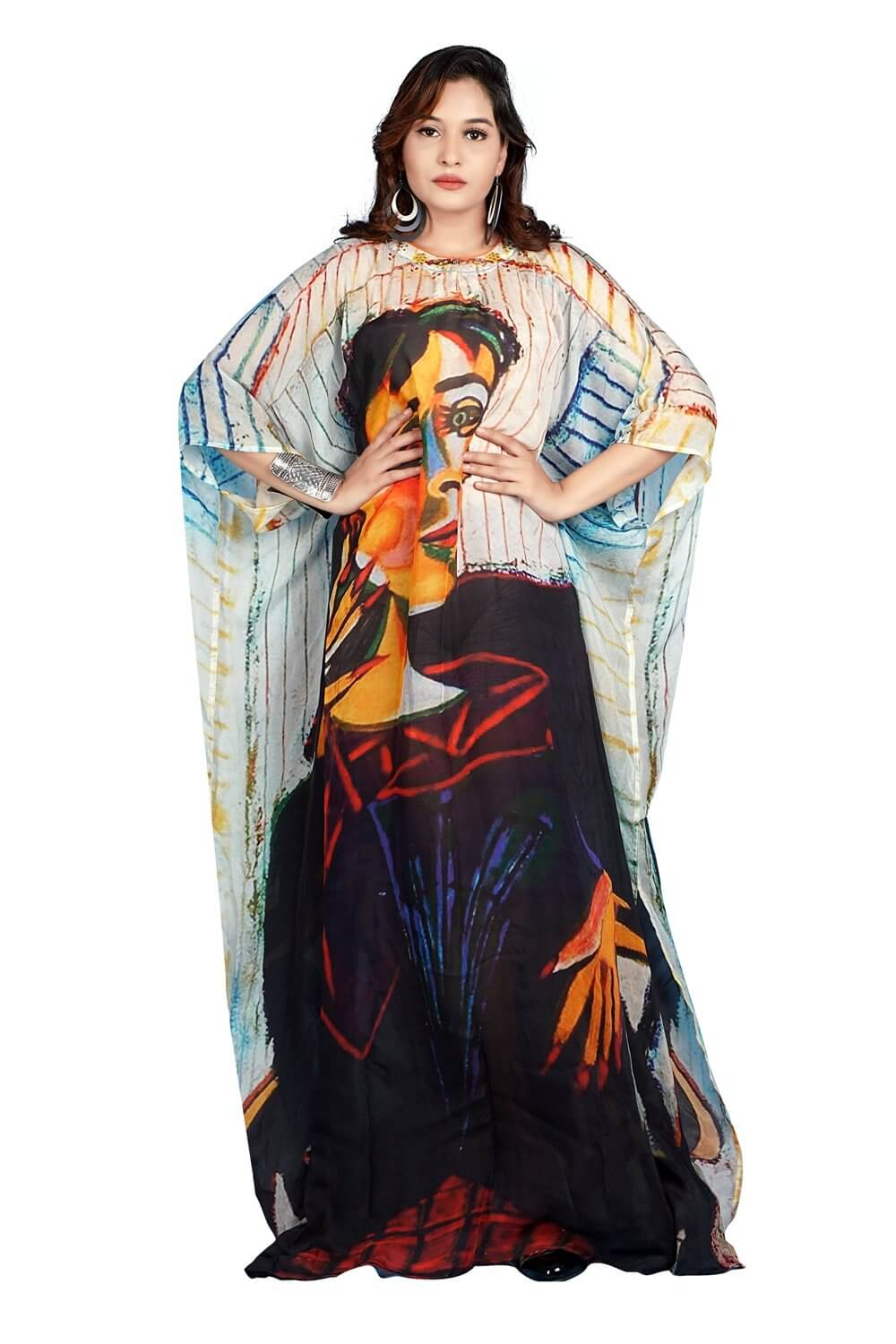An Art of Picasso on Maxi style Silk Kaftan a Style Icon emphasizes your curves