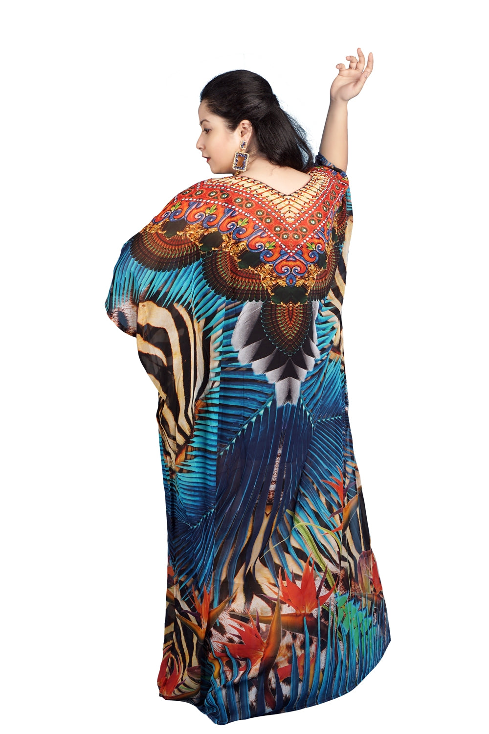 Exotic Palm Leaf Printed Beach Style Cheap Kaftan on Trend this season to wear - Silk kaftan
