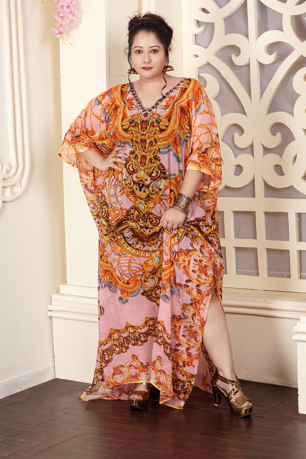 Golden Baroque Print over Maxi Long Cheap Kaftan Dress a Striking Statement a Party Wear - Silk kaftan