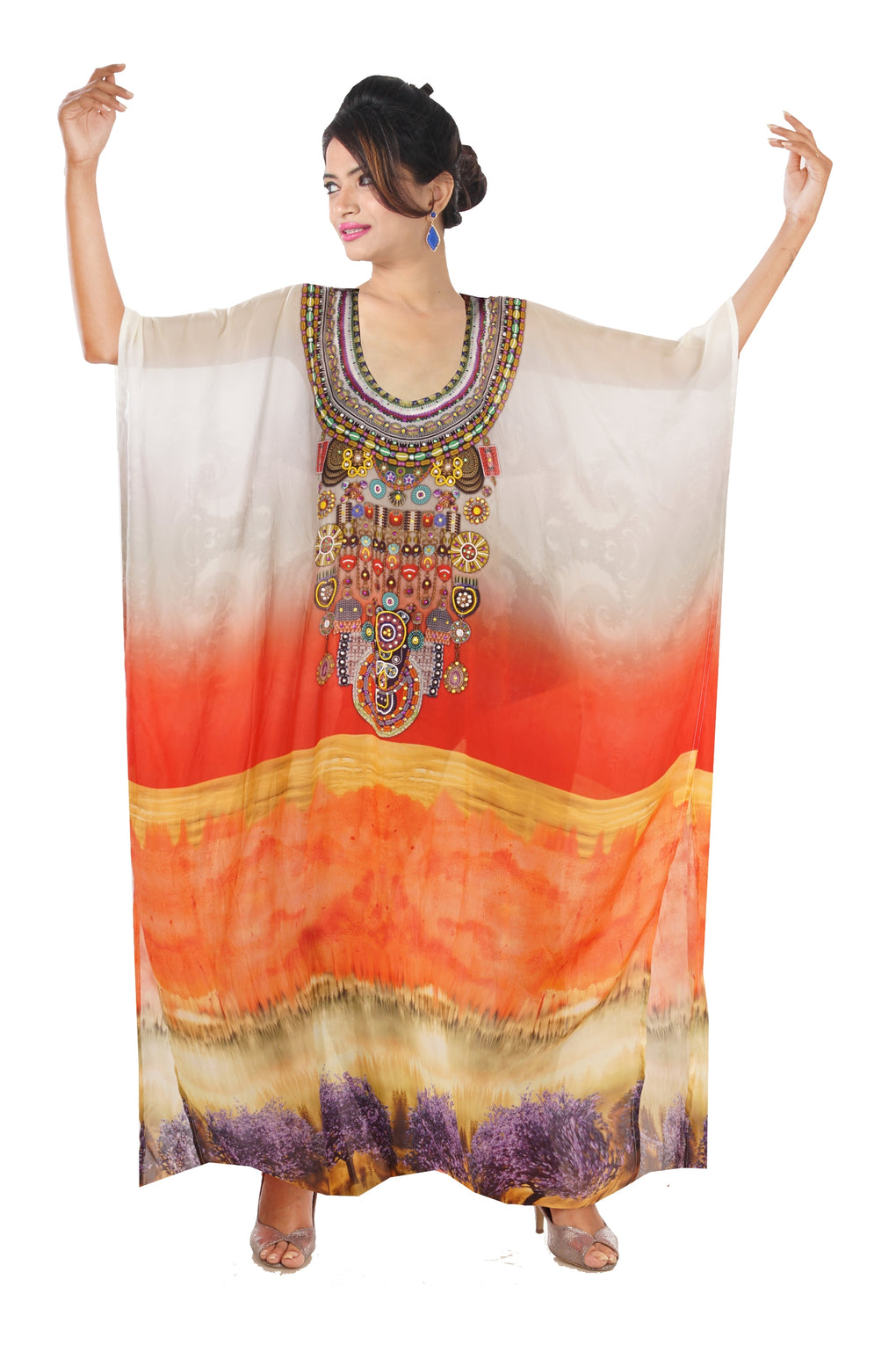 Oversized Long Kaftan with Sunset Colours and Digital Print kaftan - Silk kaftan