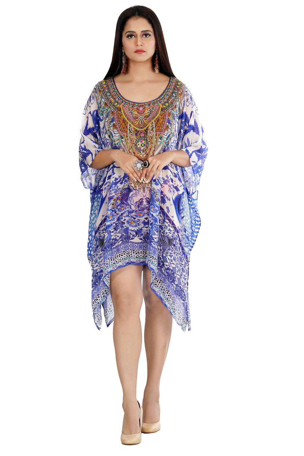 Beautiful kaftan luxury silk caftan tunic printed silk caftan dress plus size cruise wear silk caftan top - Silk kaftan
