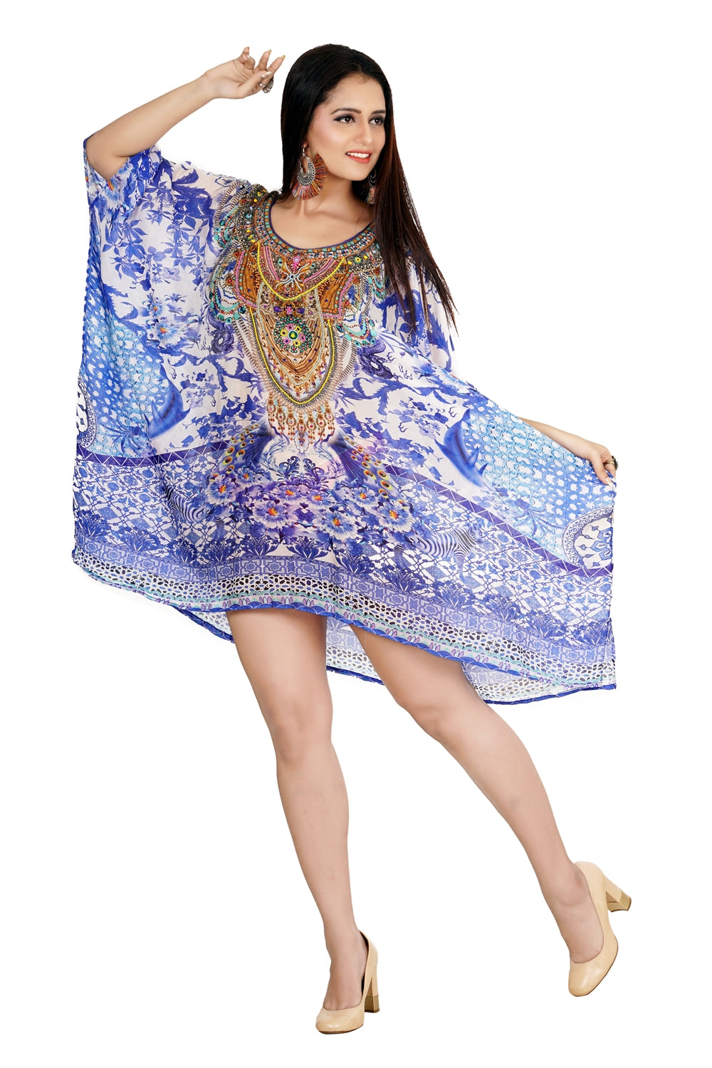 Porcelain Printed Round Neck Kaftan aspiring strength and magnificence of a Woman silk caftan tunic - Silk kaftan