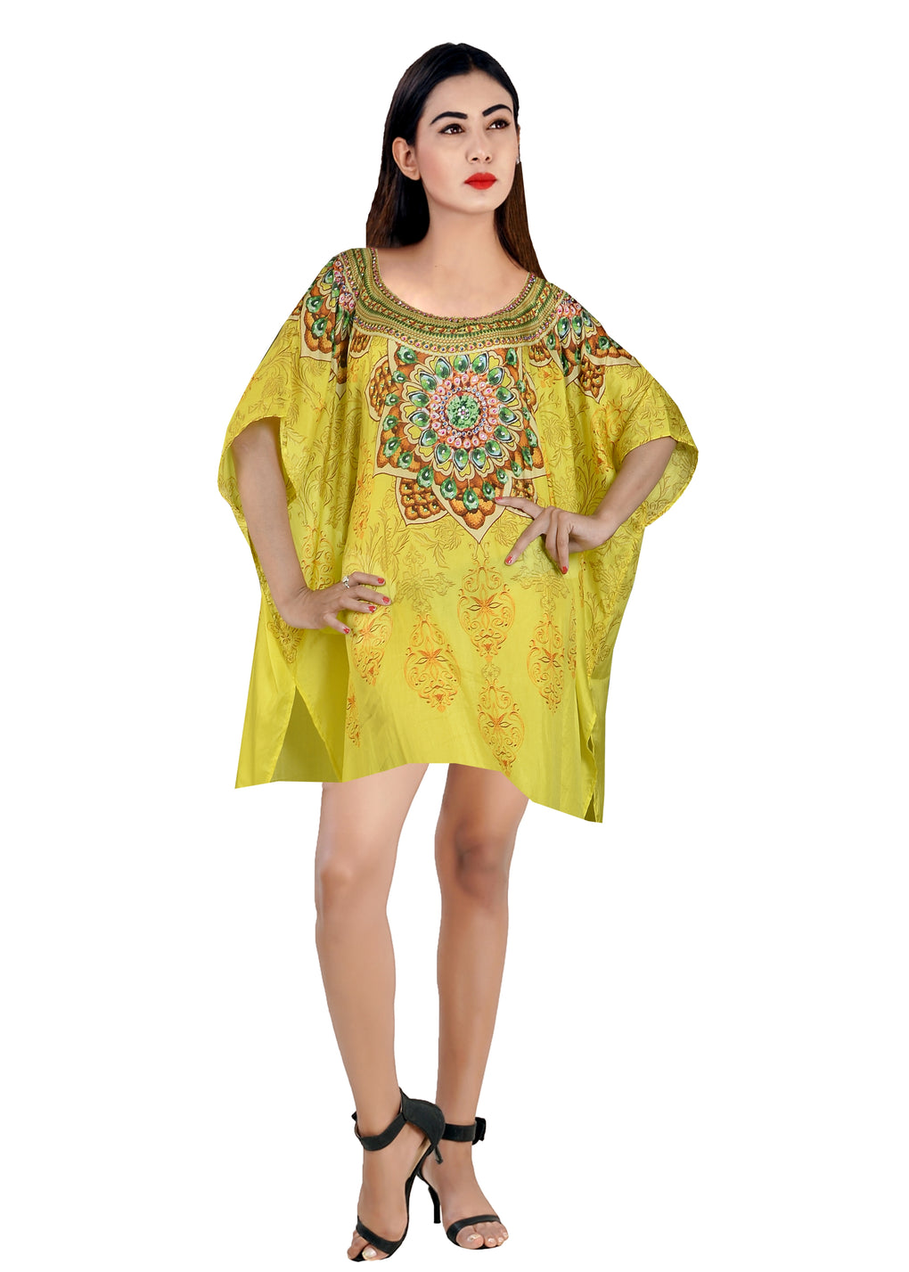 Silk caftan tunic Evening kaftan Embroidered kaftan Cruise wear kaftan Lightweight kaftan Short Swim wear kaftan - Silk kaftan