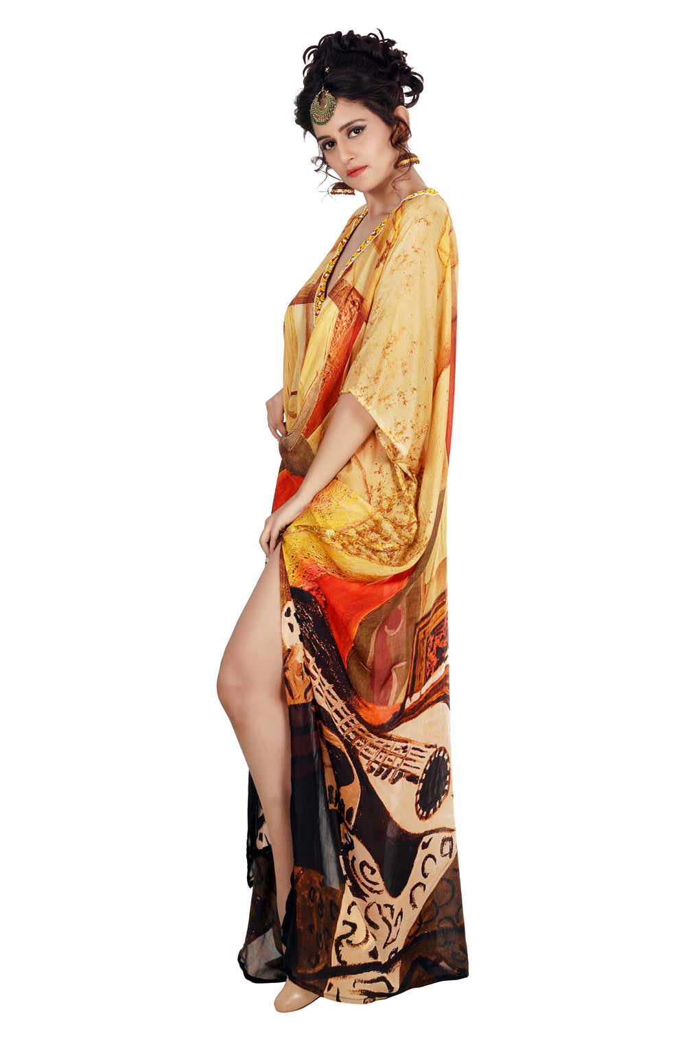 Want to party tonight?? Here's the perfect choice…Eye-catching Silk Kaftan with Picasso print Deep V neck - Silk kaftan