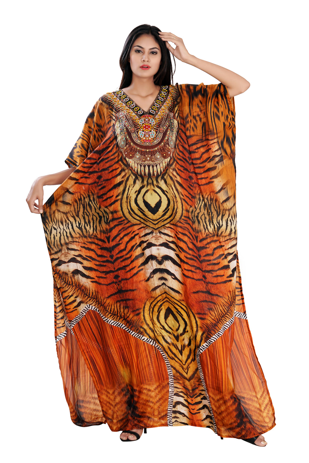 Exquisite Lion Print over Long Silk Kaftan flawless to wear for tropical occasions - Silk kaftan