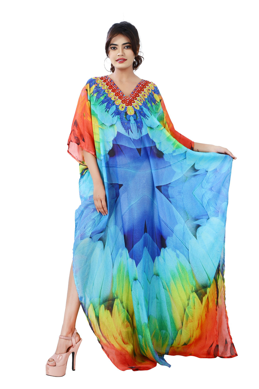 Maccaw Feathers on Maxi Long Silk Kaftan with dazzling ornamental hand craft - Silk kaftan