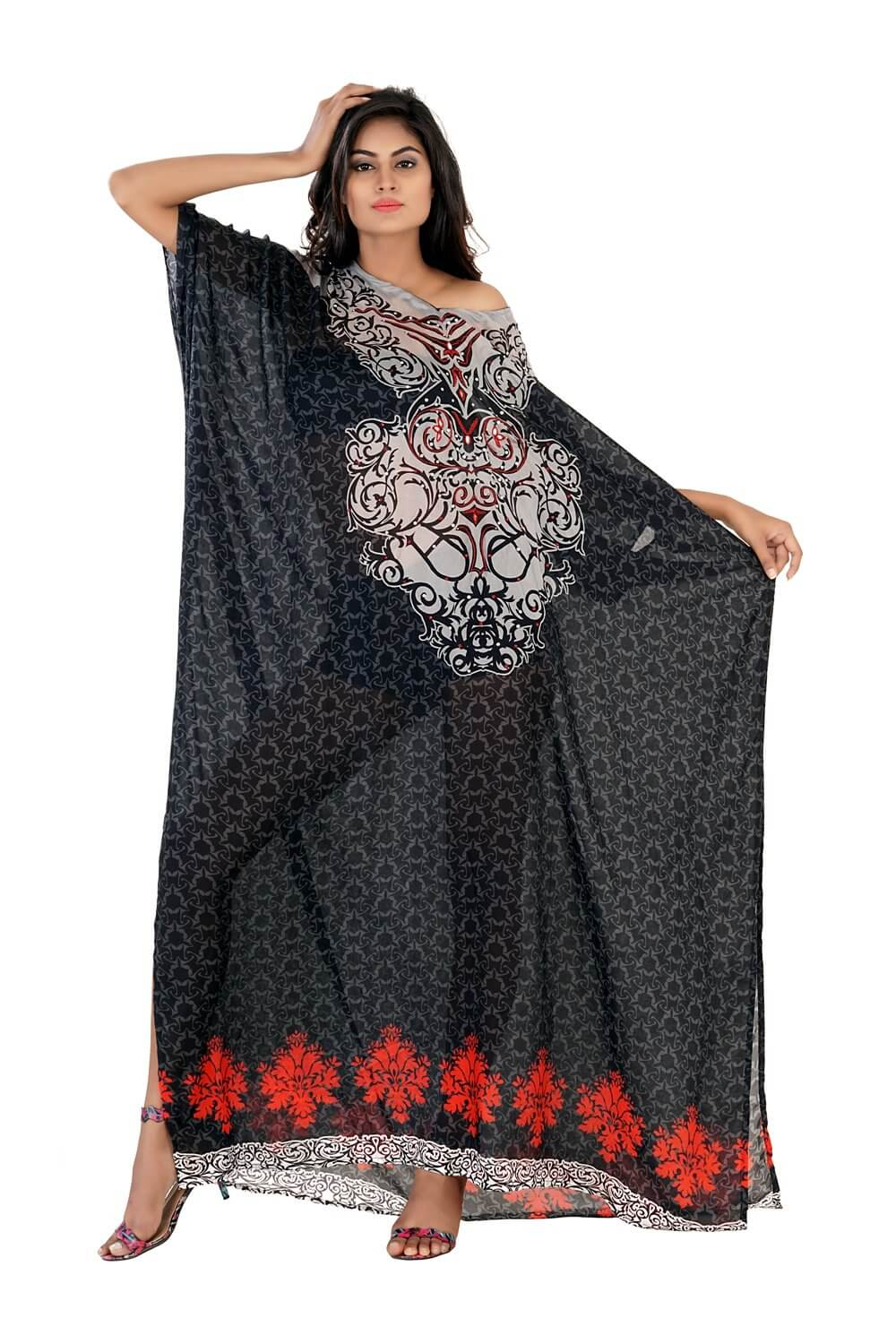 black caftan dress