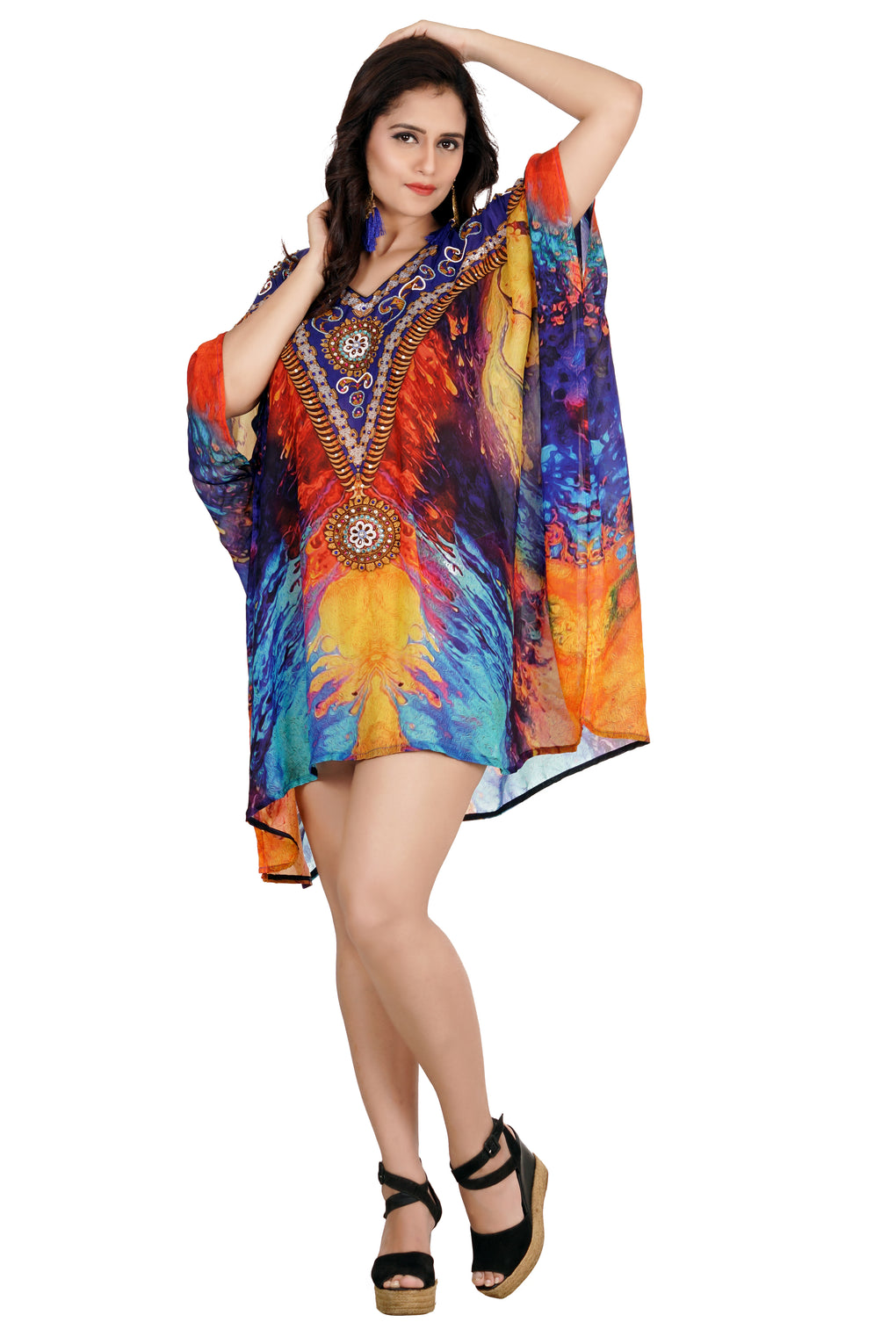 Dress in Women's Silk Kaftan embellished with Ornament design and Multicolored short Print - Silk kaftan