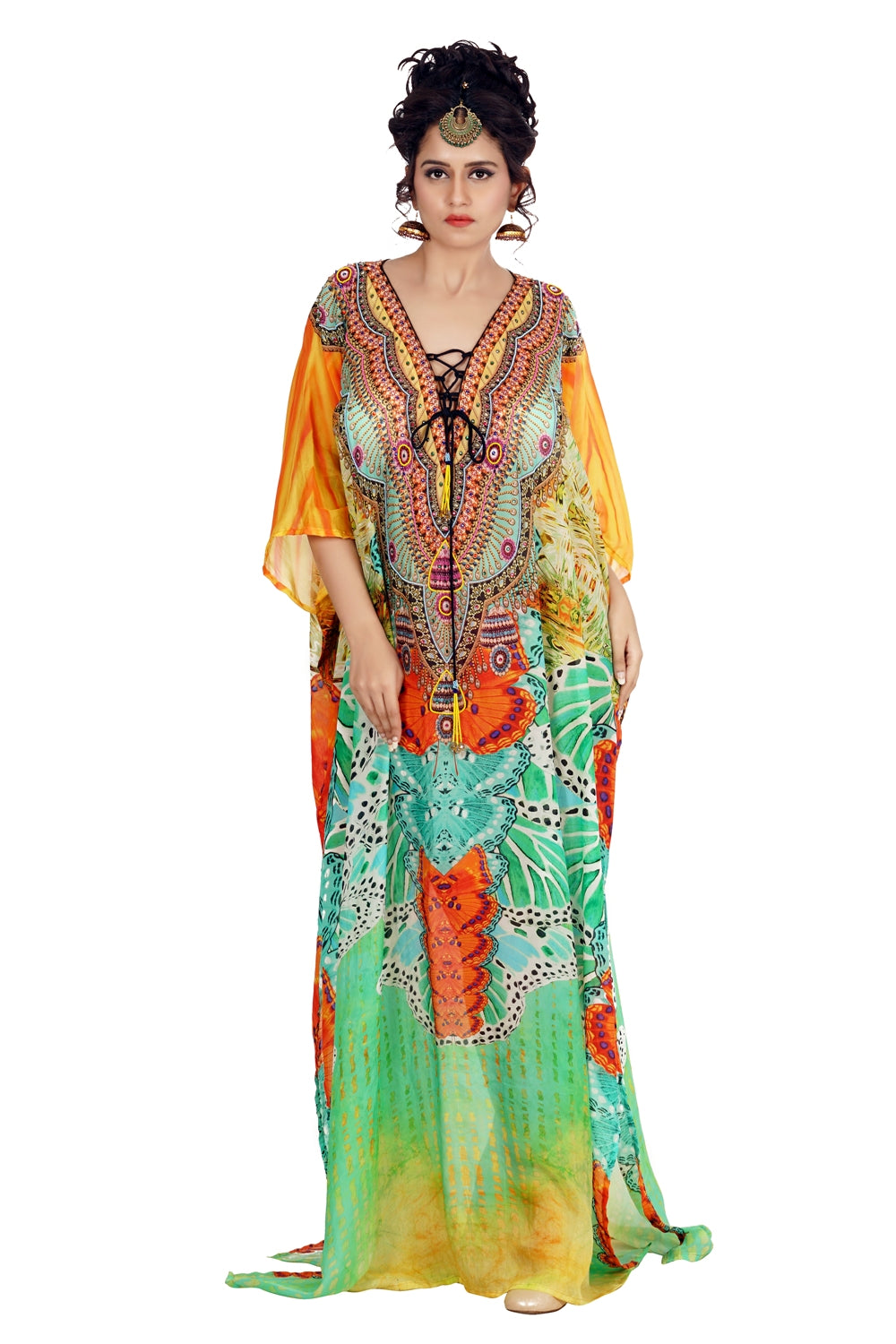 Happening Silk kaftan with bright look and laced up V neck beach wear embellished kaftan - Silk kaftan