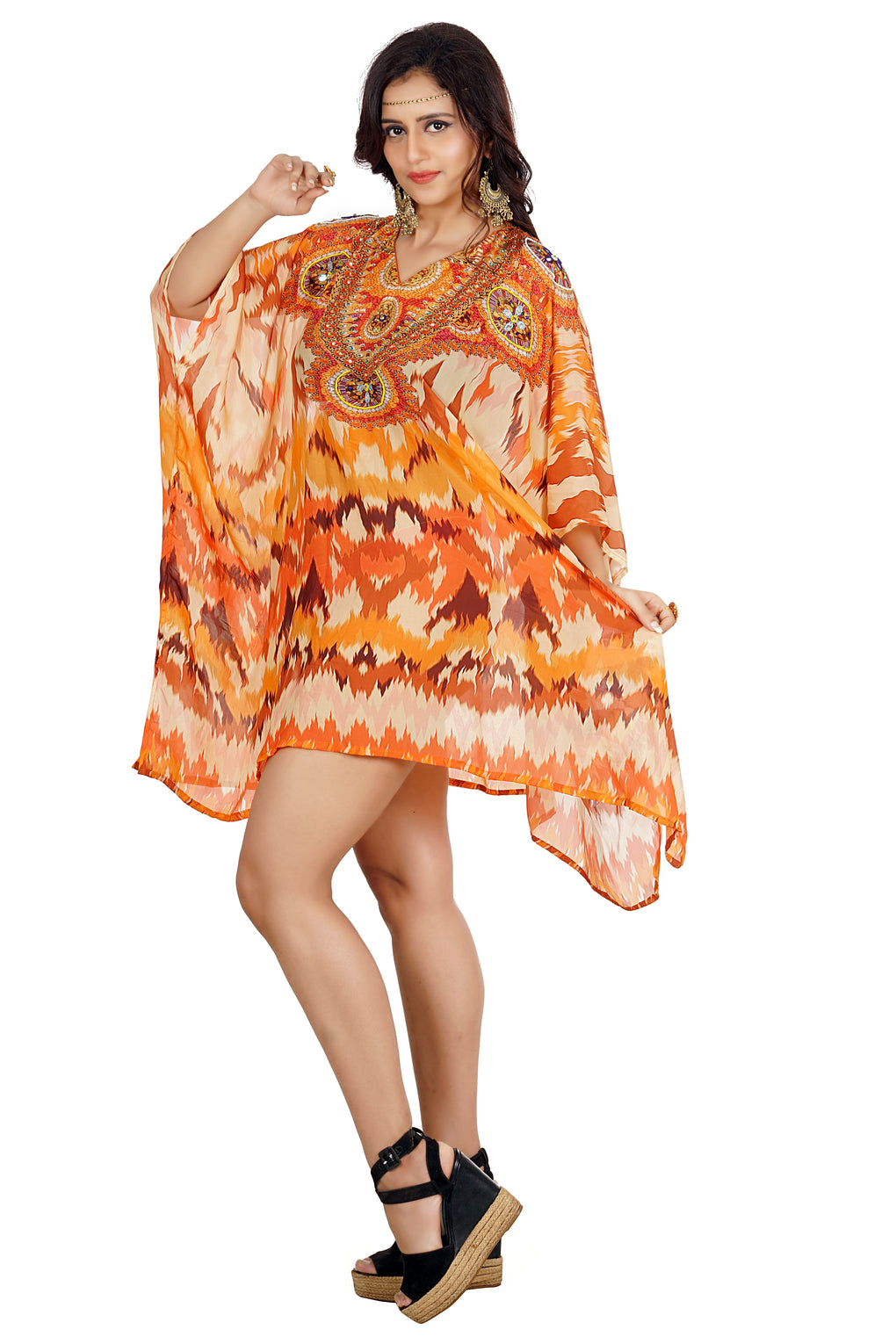 Silk caftan tunic Bright and elegantly embellished short-length orange colored kaftan from Silk Kaftans - Silk kaftan
