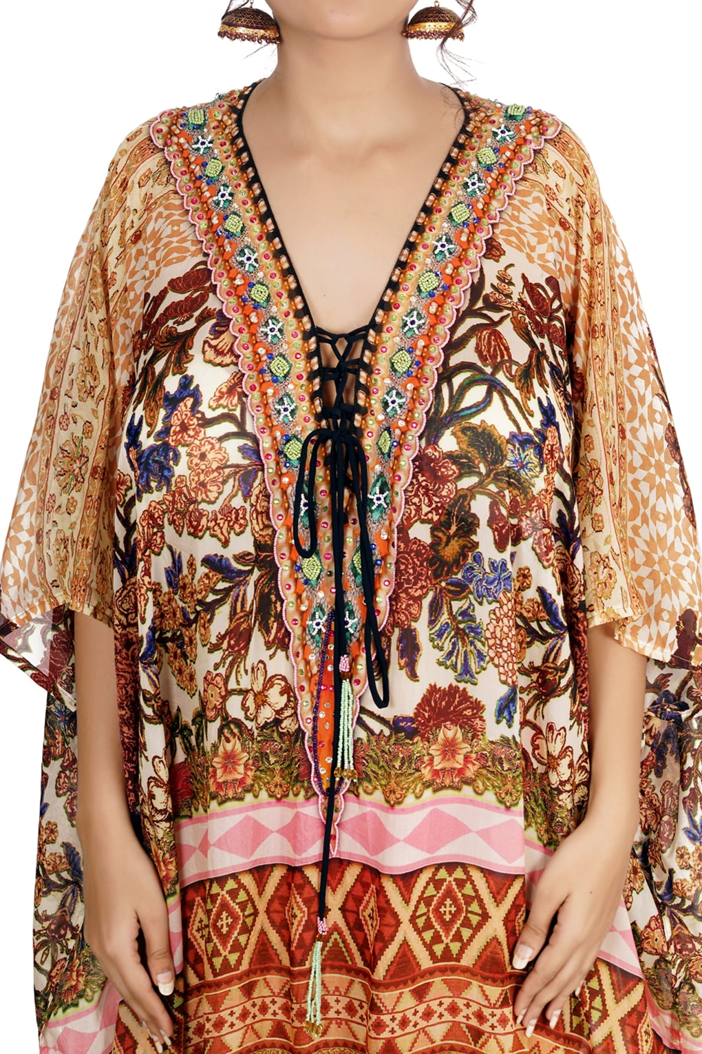 lace up kaftan