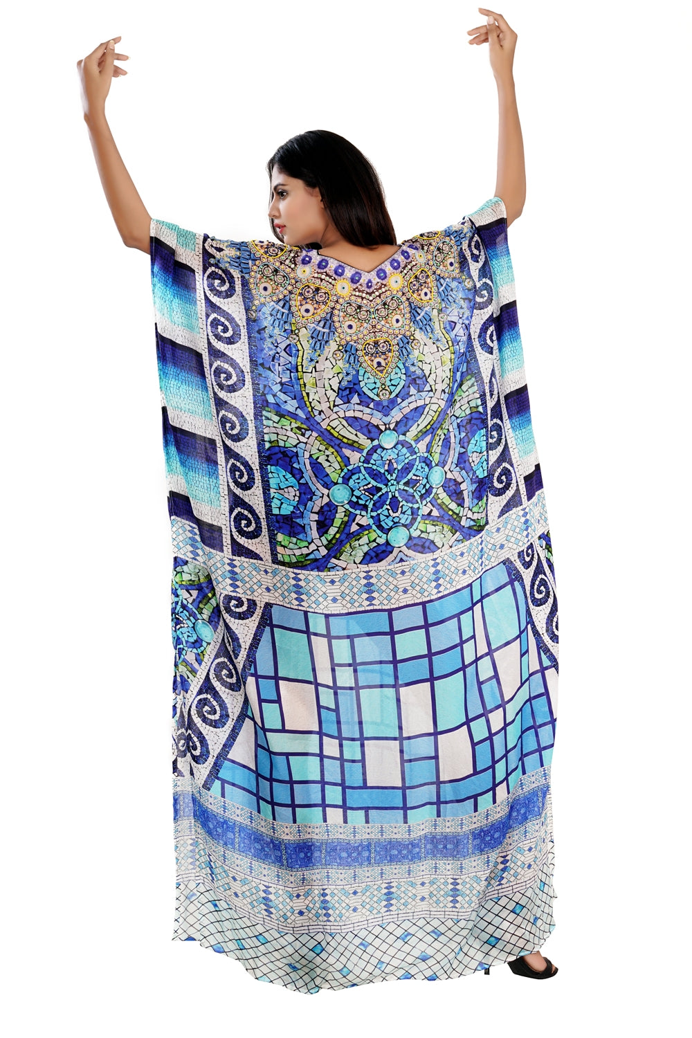 Blue colored stylish silk kaftan decorated with crystal beads neckline embellished vacation beach outfits - Silk kaftan