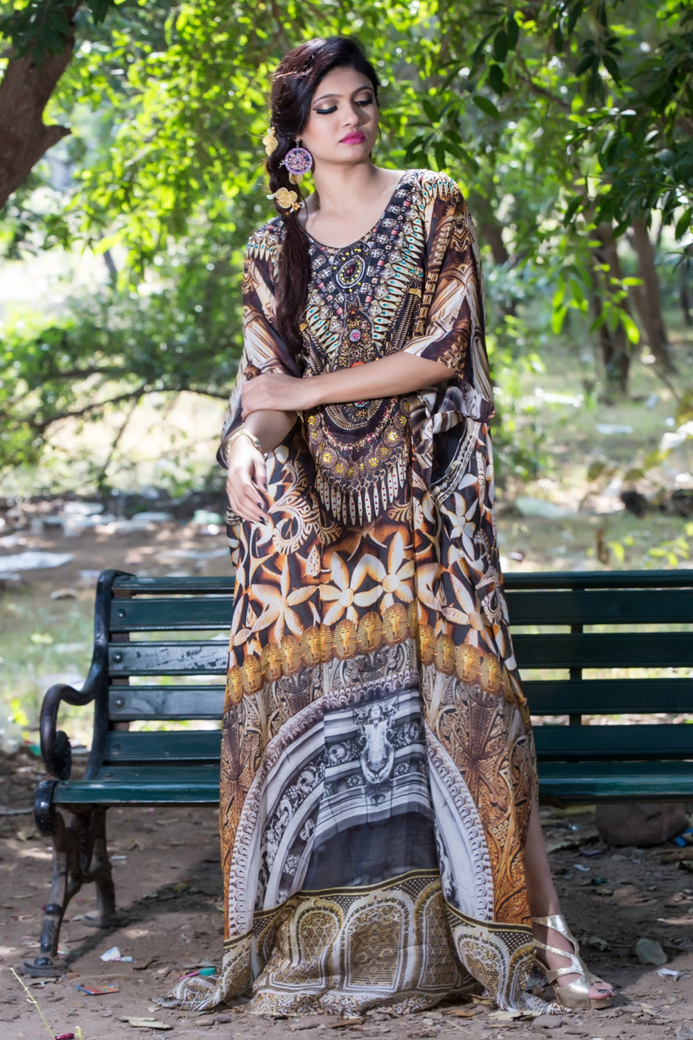 Embossed Artistic Tribal Geometric Printed Maxi Silk kaftans with embroidered beaded round neck - Silk kaftan