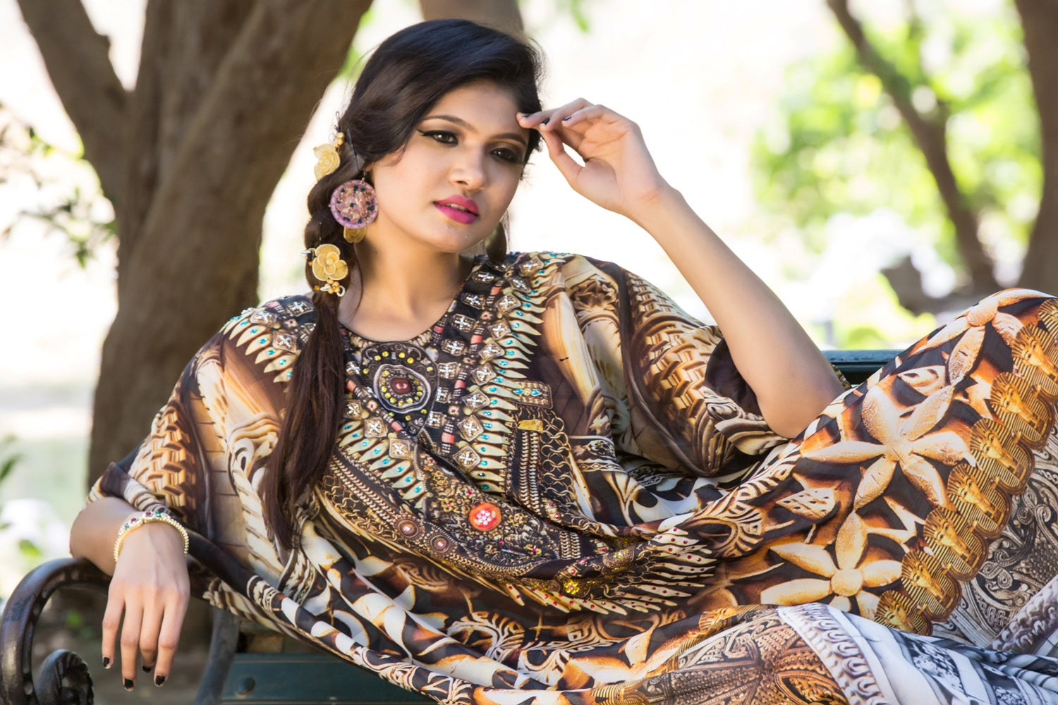 Embossed Artistic Tribal Geometric Printed Maxi Silk kaftans with embroidered beaded round neck