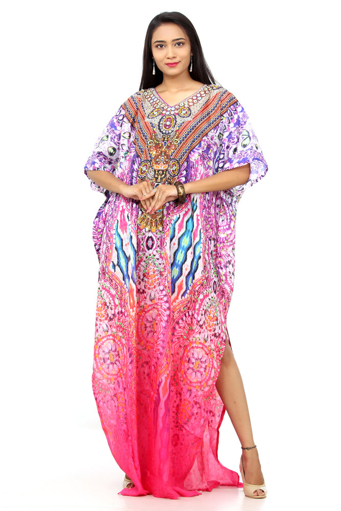 Timeless Vintage Silk Kaftan accessorized with beaded neckline and versatile size - Silk kaftan