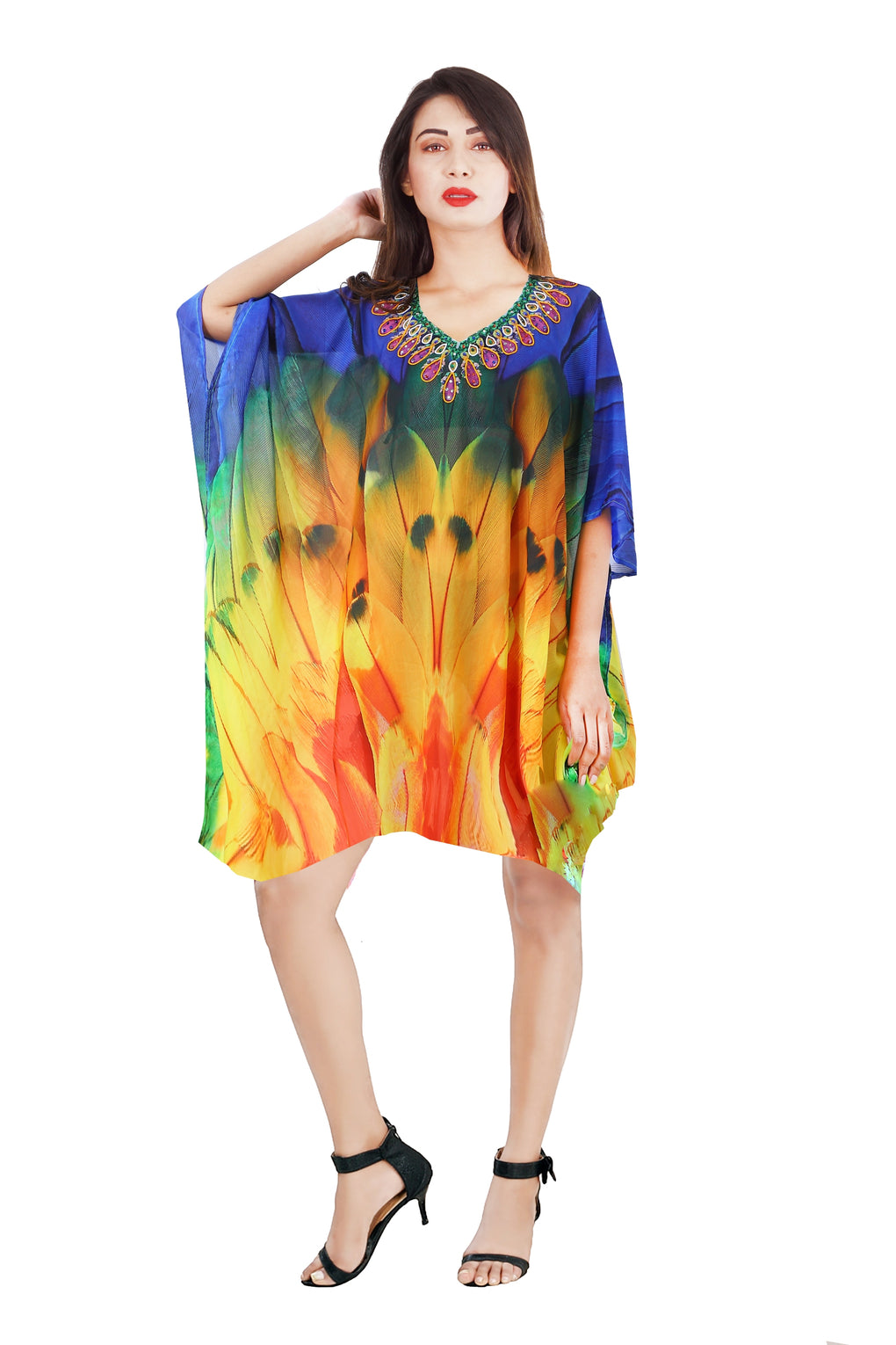 Style up with Feathery Silk Kaftan toned beaded necklace look and graceful cuts Silk caftan tunic - Silk kaftan